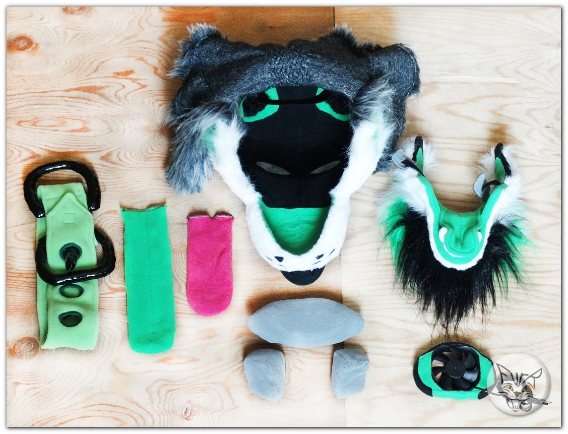 #FurRCluB #Grayish_Green_Dog_Fursuit #Manufacture #Head