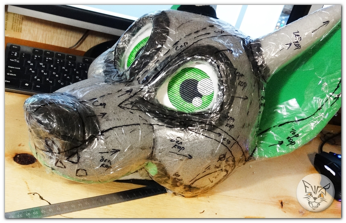 #FurRCluB #Grayish_Green_Dog_Fursuit #Manufacture #Headblank
